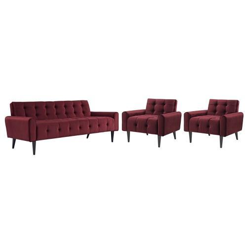 Delve Living Room Set Performance Velvet Set of 3 in Maroon