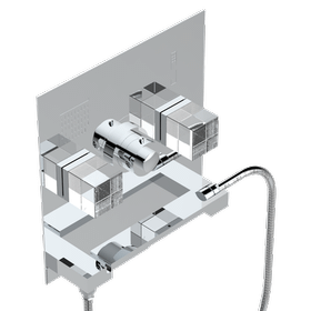 Thermostatic shower mixer trim with 2 valves on plate
