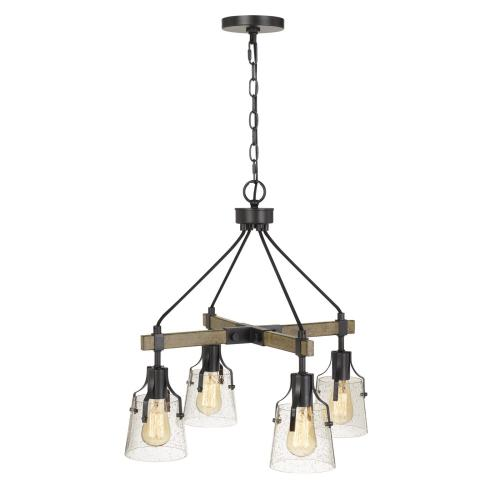 60W X 4 Aosta Metal Chandelier With BubbLED Glass Shades (Edison Bulbs Are Not included)