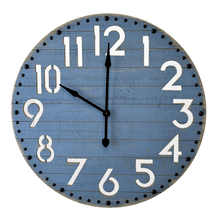 Bluewash Shiplap Wall Clock with Cut Out Numbers