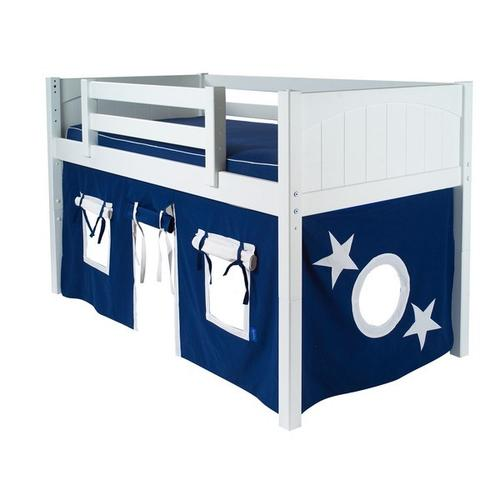 See Details - Under Bed Curtain : Blue/White