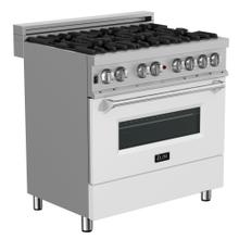 """See Details - ZLINE 36"""" Professional Dual Fuel Range in DuraSnow® Stainless Steel with Color Door Options (RAS-SN-36) [Color: White Matte]"""