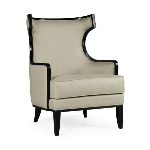 Biedermeier Greek Revival Formal Black Occasional Chair, Upholstered in MAZO
