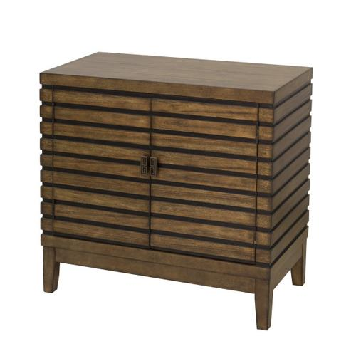 Two Door Grooved Chest in Black & Brown