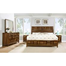 Calais Walnut Finish Solid Wood Construction Bedroom set King & Queen Bed Dresser Mirror 2 Night Stands, King