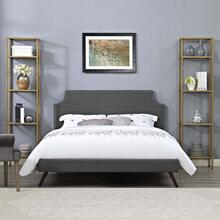 Corene King Fabric Platform Bed with Round Splayed Legs in Gray