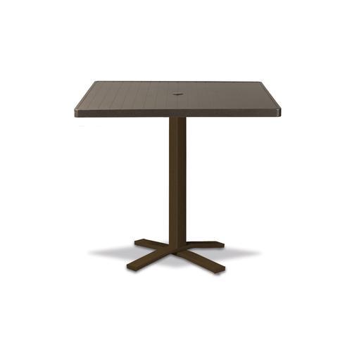 "Telescope Casual Furniture - Aluminum Slat Top Table 36"" Square Bar Height Pedestal Table w/ hole"