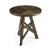 Rustic Circular Planked Dark Driftwood Lamp Table