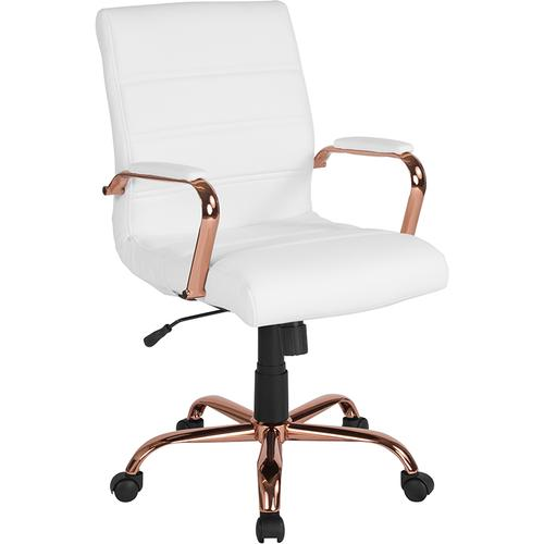 Gallery - Mid-Back White LeatherSoft Executive Swivel Office Chair with Rose Gold Frame and Arms