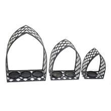 S/3 Black Lattice Tealight Candle Holders