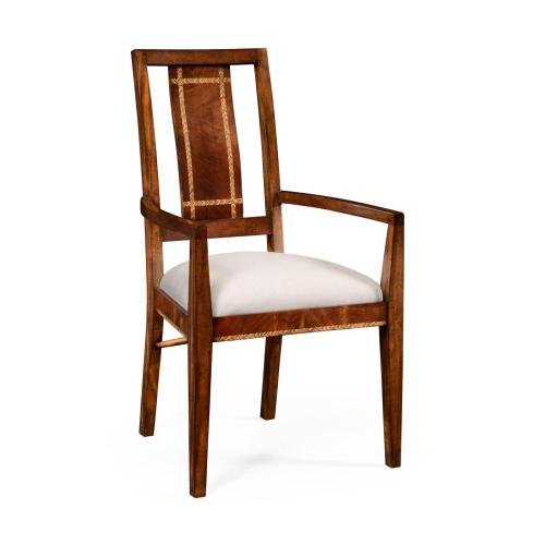 Craftsman's mahogany dining/occasional chair with herringbone inlay detail (Arm)