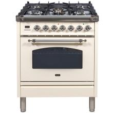 Nostalgie 30 Inch Dual Fuel Liquid Propane Freestanding Range in Antique White with Chrome Trim