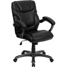 View Product - Mid-Back Black LeatherSoft Overstuffed Swivel Task Ergonomic Office Chair with Arms