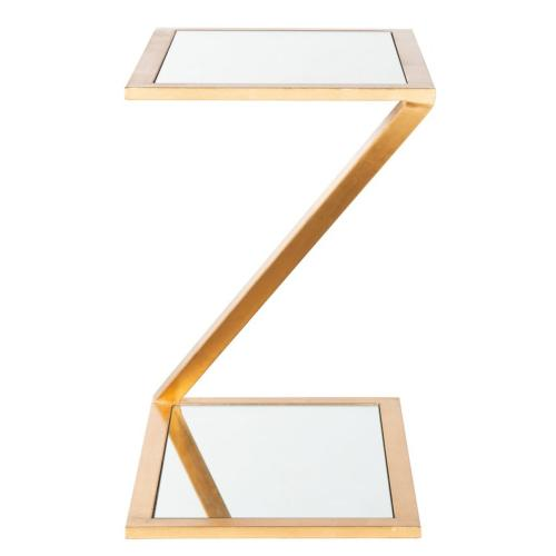 Andrea Mirror Top Gold Accent Table - Gold