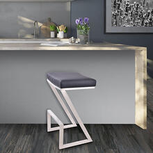 "Armen Living Atlantis 30"" Backless Barstool in Brushed Stainless Steel finish with Black Pu upholstery"