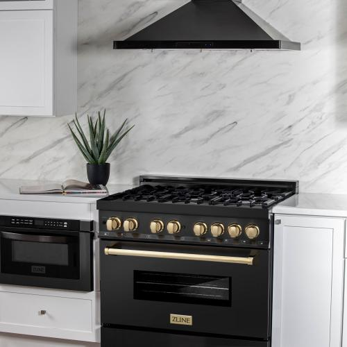 """Zline Kitchen and Bath - ZLINE Autograph Edition 36"""" 4.6 cu. ft. Dual Fuel Range with Gas Stove and Electric Oven in Black Stainless Steel with Accents (RABZ-36) [Color: Gold]"""
