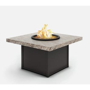 """42"""" Square Chat Fire Pit Ht: 24.5"""" Aurora Aluminum Base (Indicate Top & Frame Color)"""