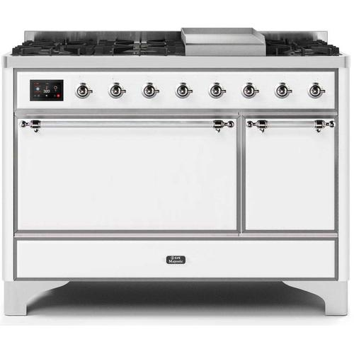 "48"" Inch White Natural Gas Freestanding Range"