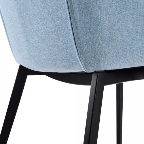 Armen Living Kenna Contemporary Dining Chair in Matte Black Finish and Blue Fabric - Set of 2
