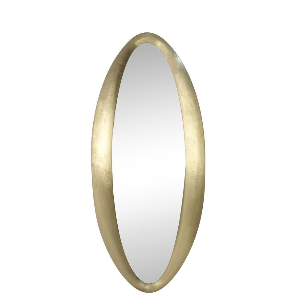 """See Details - Wood / Brass Clad, 64"""" Oval Wall Mirror, Gold"""