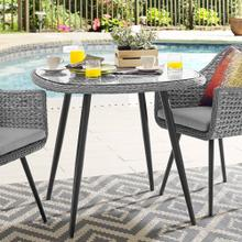 "Endeavor 36"" Outdoor Patio Wicker Rattan Dining Table in Gray"