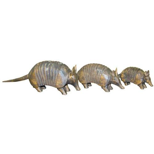 3 PC Wood Carved Armadillos
