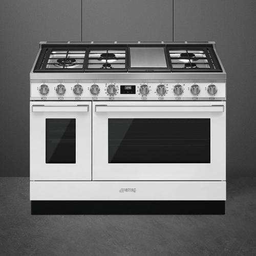"""Portofino Pro-Style Dual Fuel Range, White, 48"""" x 25"""""""
