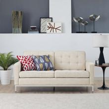 See Details - Loft Upholstered Fabric Loveseat in Beige
