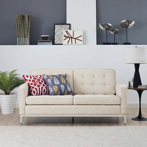 Loft Upholstered Fabric Loveseat in Beige