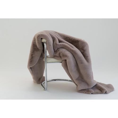 """Chinchilla Feel Faux Fur Throw - 50"""" x 60"""" / Mocha"""