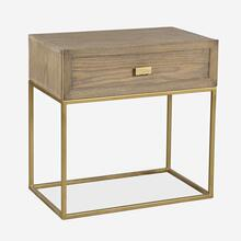 Mara Wooden Bedside Table with Iron Frame, Bronze