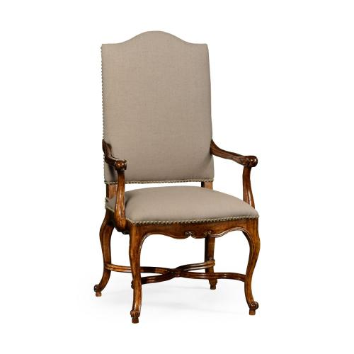 French Baronial Style Country Arm Chair, Upholstered in MAZO