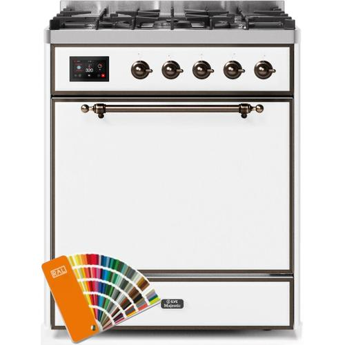 Majestic II 30 Inch Dual Fuel Natural Gas Freestanding Range in Custom RAL Color with Bronze Trim