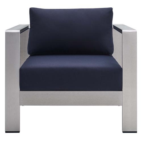 Shore Sunbrella® Fabric Aluminum Outdoor Patio Armchair in Silver Navy