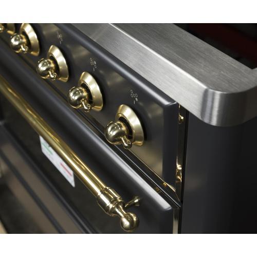 Majestic II 36 Inch Electric Freestanding Range in Matte Graphite with Brass Trim