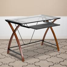 Product Image - Glass Computer Desk with Pull-Out Keyboard Tray and Crisscross Frame