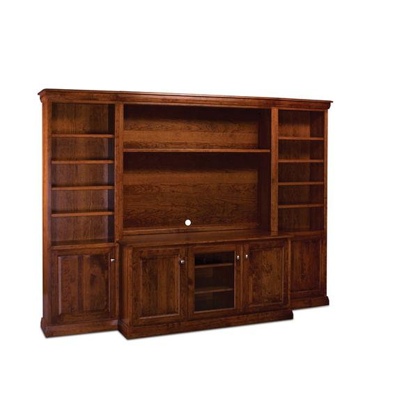 "Colburn Bookcase Unit, 18""w, Glass Door on Top, Wood Door on Bottom, 4-Adj. Shelves, Antique Glass"
