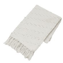 Natural Diagonal Fringe Slub Woven Throw