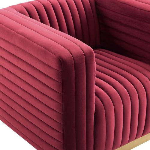 Modway - Charisma Channel Tufted Performance Velvet Accent Armchair in Maroon
