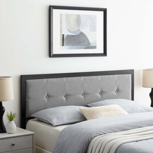 Teagan Tufted King Headboard in Black Light Gray
