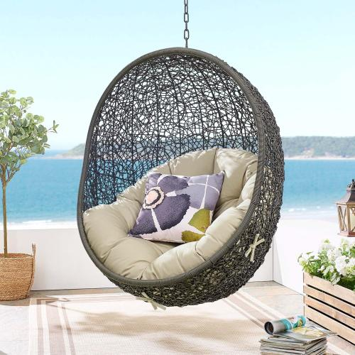 Hide Outdoor Patio Sunbrella® Swing Chair With Stand in Gray Beige