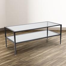 See Details - Newport Collection Glass Coffee Table with Black Metal Frame