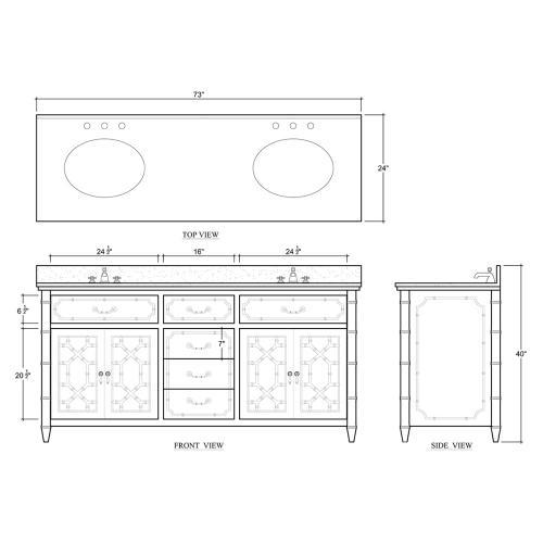 Bramble - Grosvenor Double Vanity w/ Sink & Marble Top
