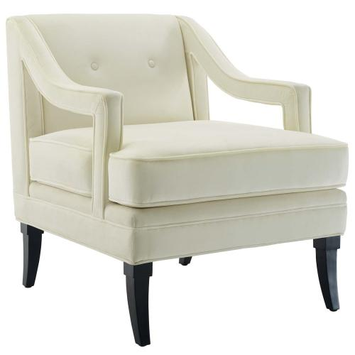 Concur Button Tufted Performance Velvet Armchair in Ivory