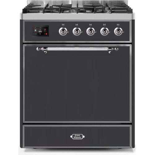 Ilve - Majestic II 30 Inch Dual Fuel Natural Gas Freestanding Range in Matte Graphite with Chrome Trim