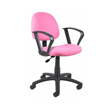 Deluxe Mid-Back Black Mesh Computer Ergonomic Chair with Footring - Pink, With-loop-arms