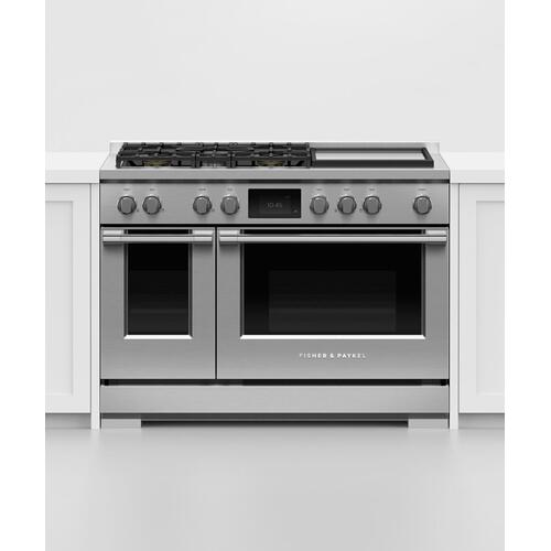 "Dual Fuel Range, 48"", 5 Burners with Griddle, Self-cleaning"