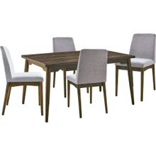 See Details - Hanover Portland 5-Piece Dining Set with Rectangle Table and 4 Upholstered Side Chairs, HDR008-5PC-BR