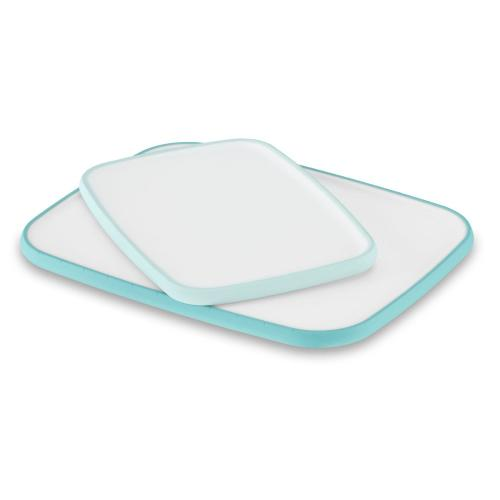 "11"" x 14"" Non-Slip Poly Cutting Board - Aqua Sky"
