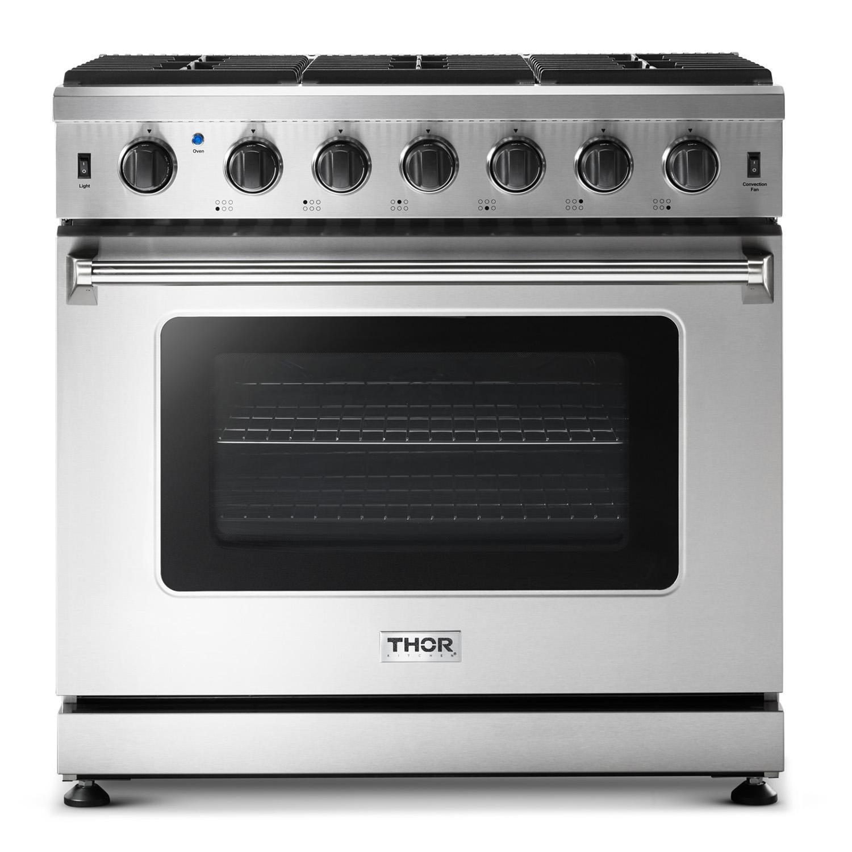 Thor Kitchen36 Inch Gas Range In Stainless Steel - Liquid Propane